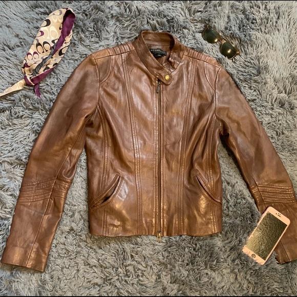 bagatelle Jackets & Blazers - Bagatelle Women's Motorcycle Brown Leather Jacket
